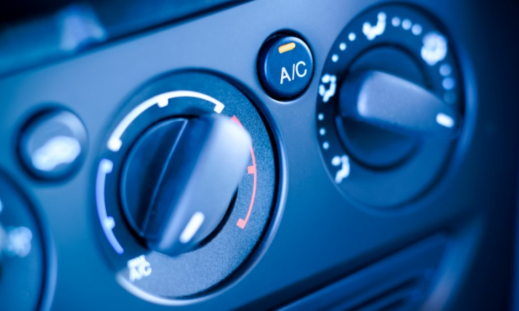 Climate controls instrument panel in car, vehicle.