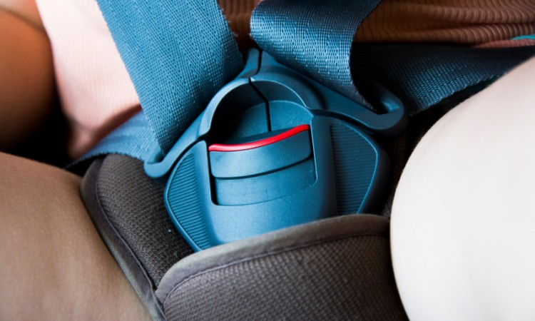 Locked safety belt in car seat